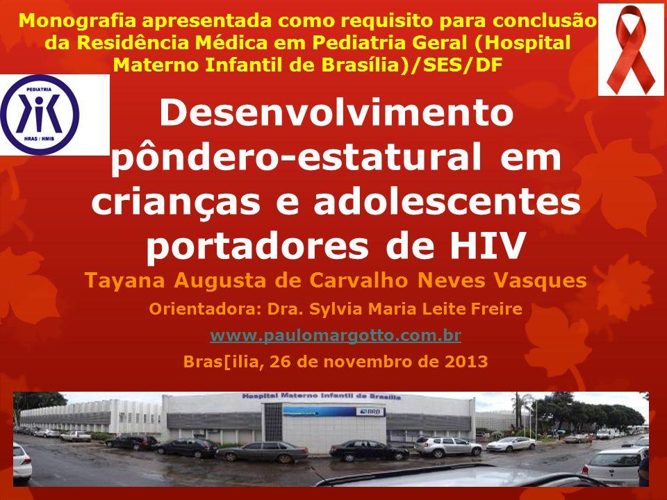 Desenvolvimento pôndero-estatural em crianças e adolescentes portadores de HIV Tayana Augusta de Carvalho Neves Vasques Orientadora: Dra. Sylvia Maria