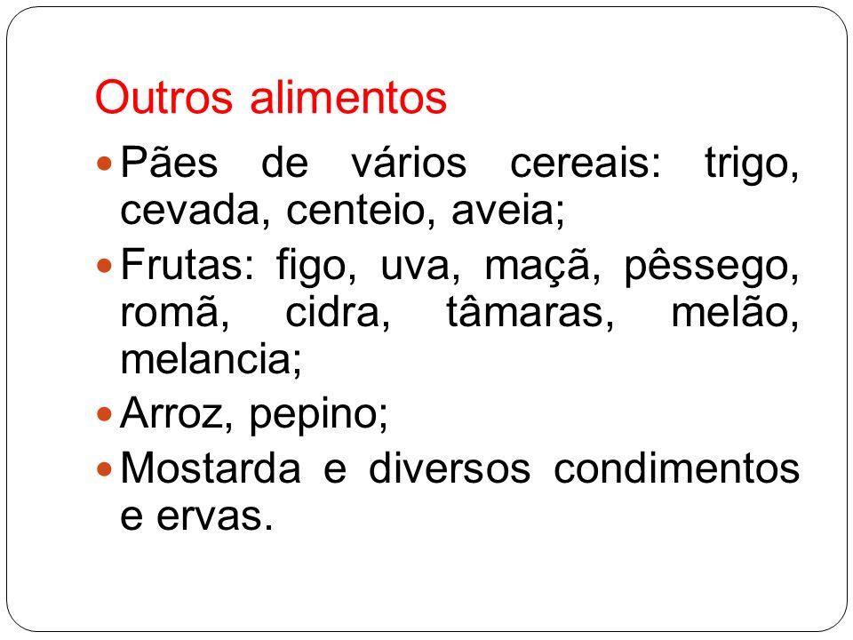 Outros alimentos Pães de vários cereais: trigo, cevada, centeio, aveia; Frutas: figo, uva, maçã, pêssego, romã, cidra, tâmaras, melão, melancia; Arroz