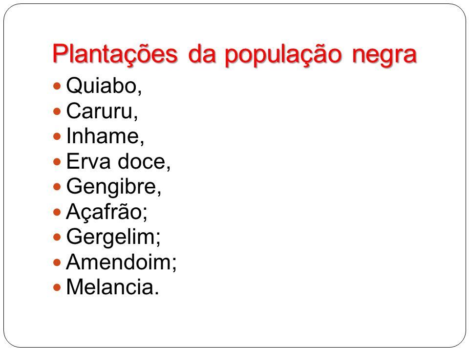 Plantações da população negra Quiabo, Caruru, Inhame, Erva doce, Gengibre, Açafrão; Gergelim; Amendoim; Melancia.