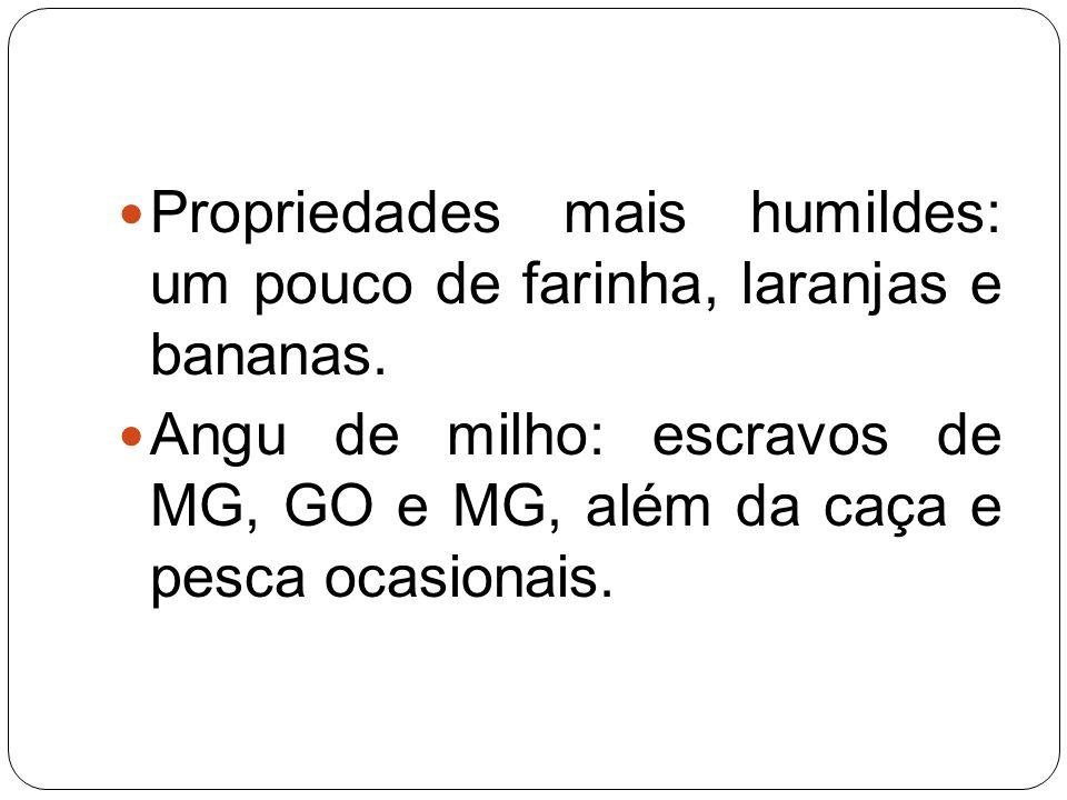 Propriedades mais humildes: um pouco de farinha, laranjas e bananas. Angu de milho: escravos de MG, GO e MG, além da caça e pesca ocasionais.
