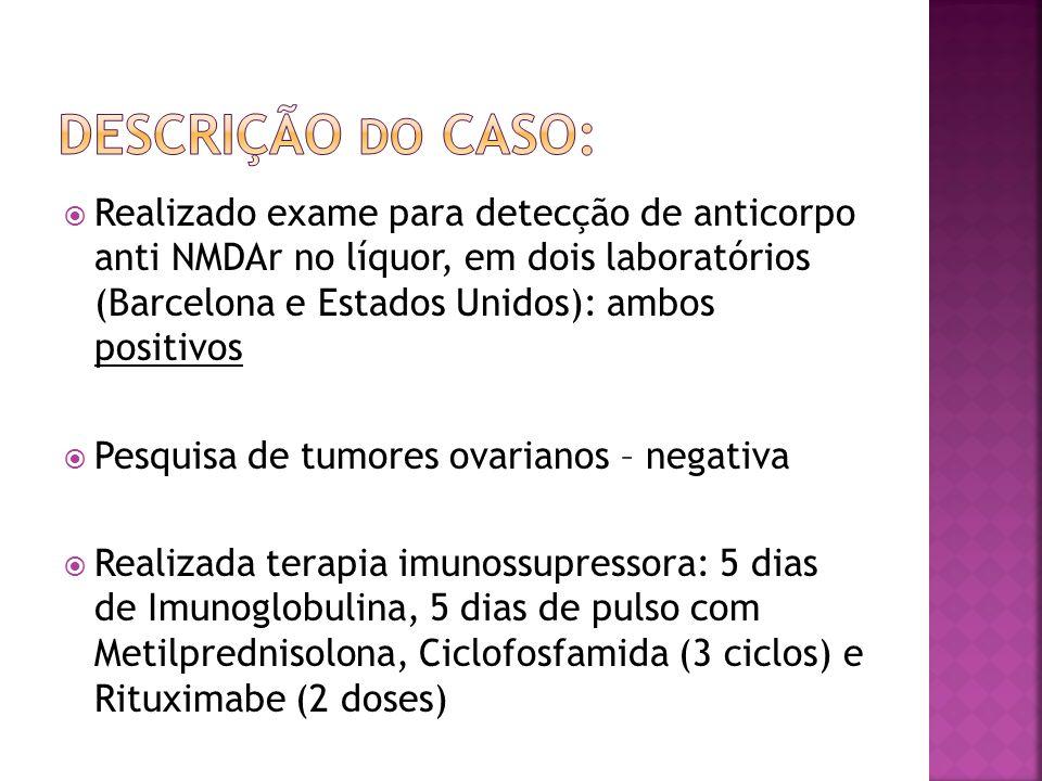 Realizado exame para detecção de anticorpo anti NMDAr no líquor, em dois laboratórios (Barcelona e Estados Unidos): ambos positivos Pesquisa de tumore