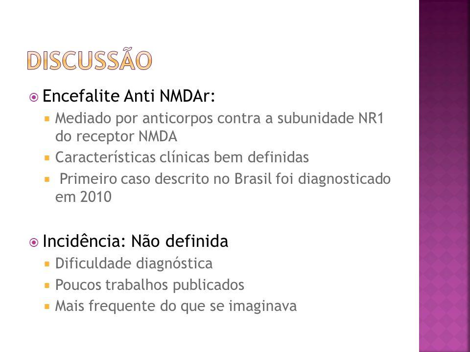 Encefalite Anti NMDAr: Mediado por anticorpos contra a subunidade NR1 do receptor NMDA Características clínicas bem definidas Primeiro caso descrito n