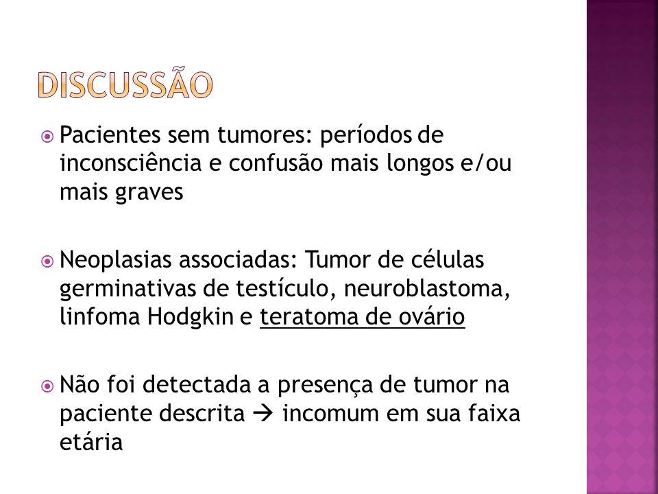 Pacientes sem tumores: períodos de inconsciência e confusão mais longos e/ou mais graves Neoplasias associadas: Tumor de células germinativas de testí