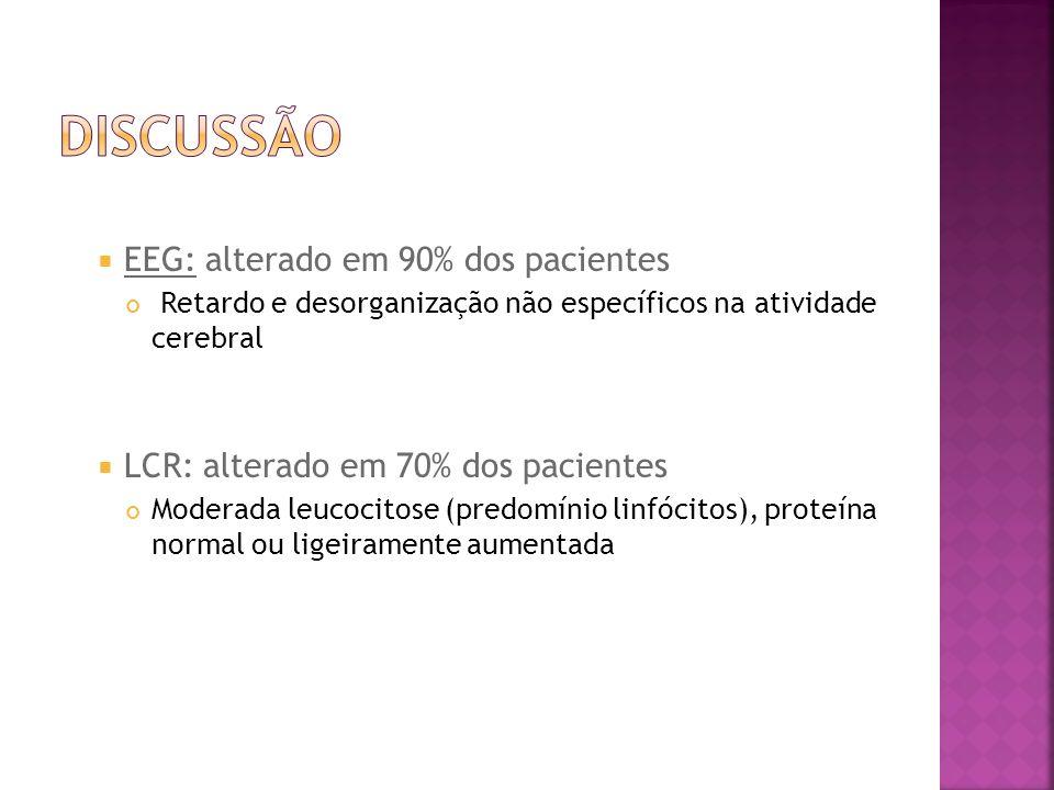 EEG: alterado em 90% dos pacientes Retardo e desorganização não específicos na atividade cerebral LCR: alterado em 70% dos pacientes Moderada leucocit