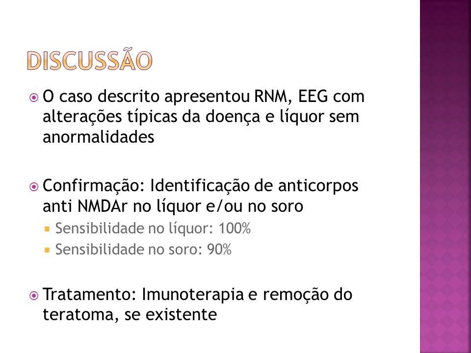 O caso descrito apresentou RNM, EEG com alterações típicas da doença e líquor sem anormalidades Confirmação: Identificação de anticorpos anti NMDAr no
