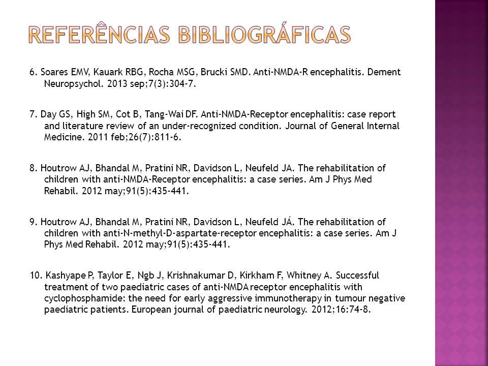 6. Soares EMV, Kauark RBG, Rocha MSG, Brucki SMD. Anti-NMDA-R encephalitis. Dement Neuropsychol. 2013 sep;7(3):304-7. 7. Day GS, High SM, Cot B, Tang-
