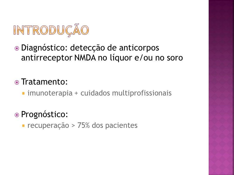 Diagnóstico: detecção de anticorpos antirreceptor NMDA no líquor e/ou no soro Tratamento: imunoterapia + cuidados multiprofissionais Prognóstico: recu