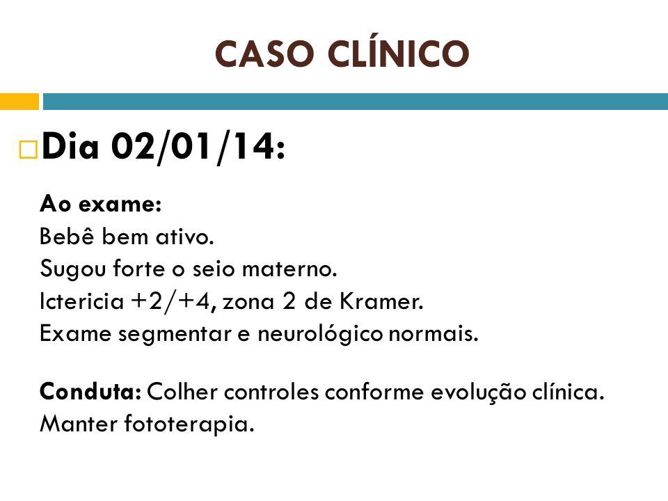 CASO CLÍNICO Dia 02/01/14: Ao exame: Bebê bem ativo. Sugou forte o seio materno. Ictericia +2/+4, zona 2 de Kramer. Exame segmentar e neurológico norm