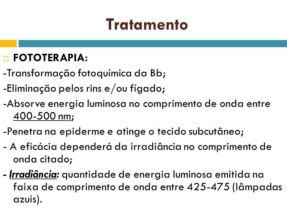 Tratamento FOTOTERAPIA: -Transformação fotoquímica da Bb; -Eliminação pelos rins e/ou fígado; -Absorve energia luminosa no comprimento de onda entre 4