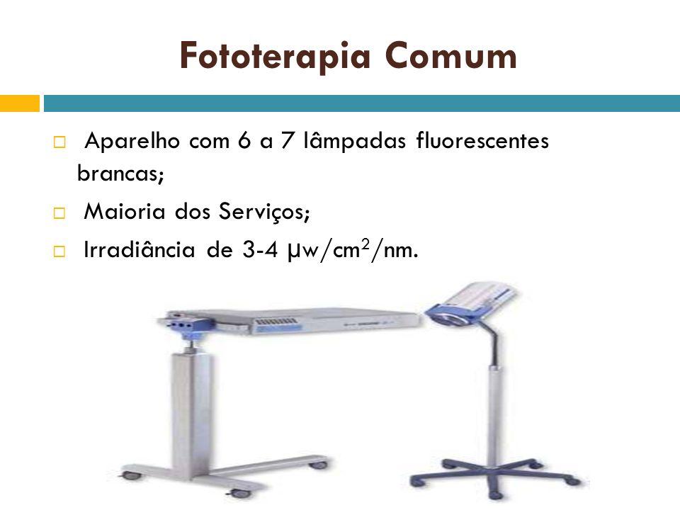Fototerapia Comum Aparelho com 6 a 7 lâmpadas fluorescentes brancas; Maioria dos Serviços; Irradiância de 3-4 µw/cm 2 /nm.