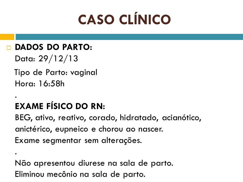 CASO CLÍNICO DADOS DO PARTO: Data: 29/12/13 Tipo de Parto: vaginal Hora: 16:58h. EXAME FÍSICO DO RN: BEG, ativo, reativo, corado, hidratado, acianótic