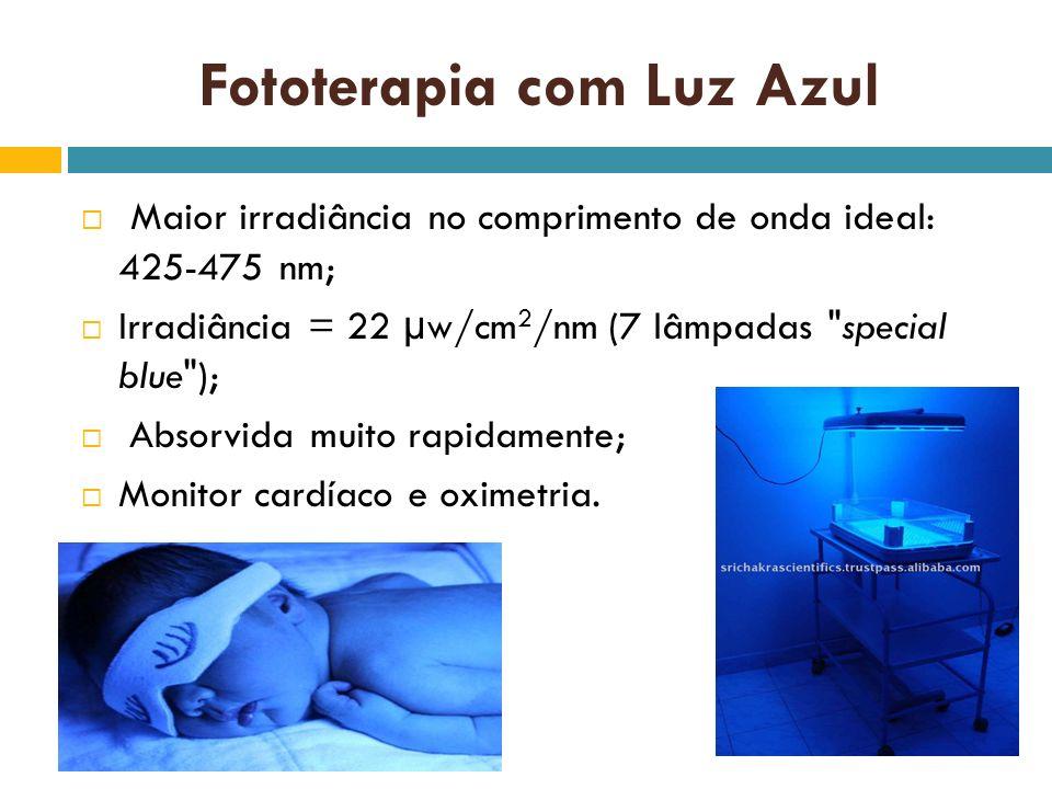 Fototerapia com Luz Azul Maior irradiância no comprimento de onda ideal: 425-475 nm; Irradiância = 22 µw/cm 2 /nm (7 lâmpadas