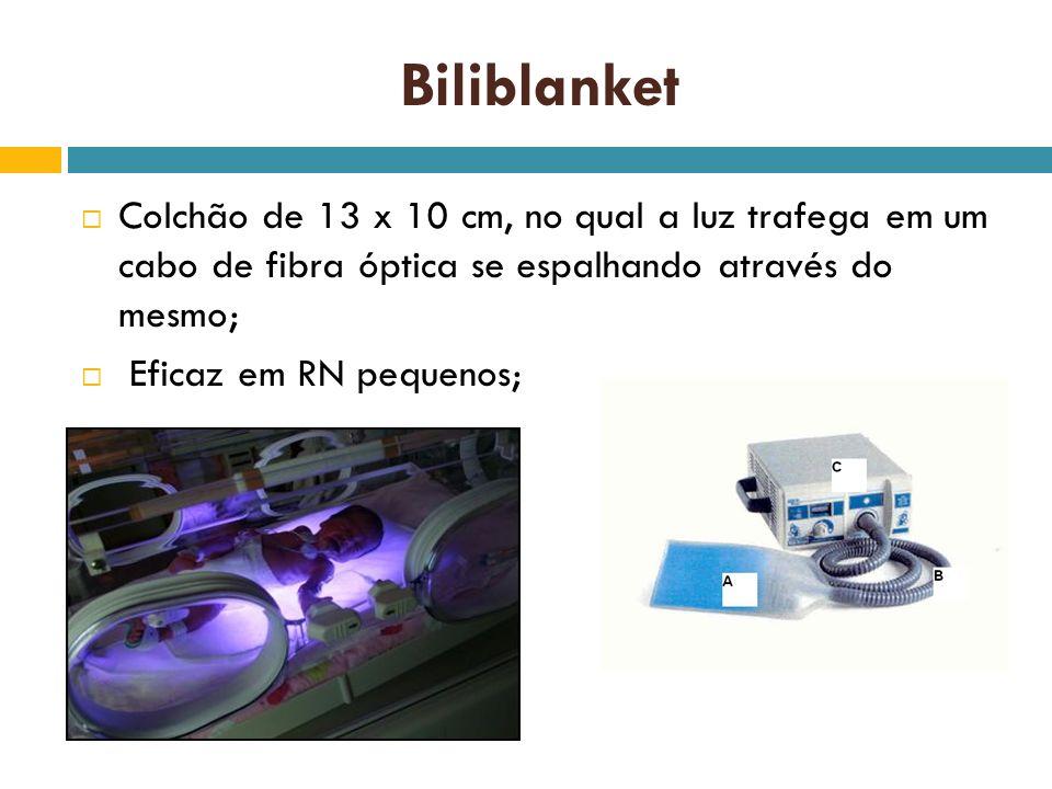 Biliblanket Colchão de 13 x 10 cm, no qual a luz trafega em um cabo de fibra óptica se espalhando através do mesmo; Eficaz em RN pequenos;
