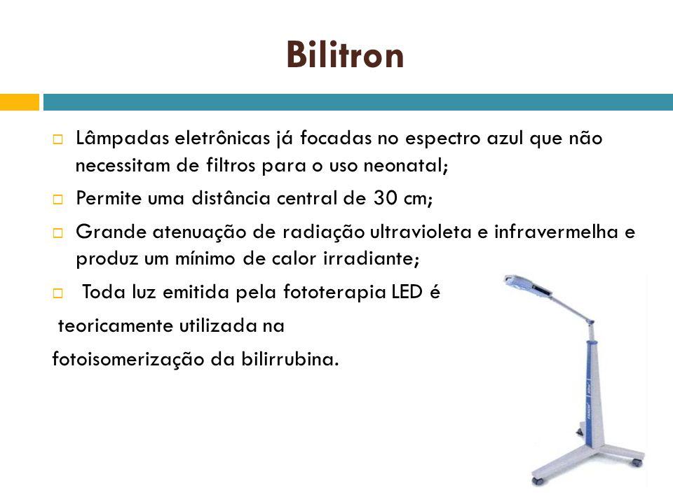 Bilitron Lâmpadas eletrônicas já focadas no espectro azul que não necessitam de filtros para o uso neonatal; Permite uma distância central de 30 cm; G
