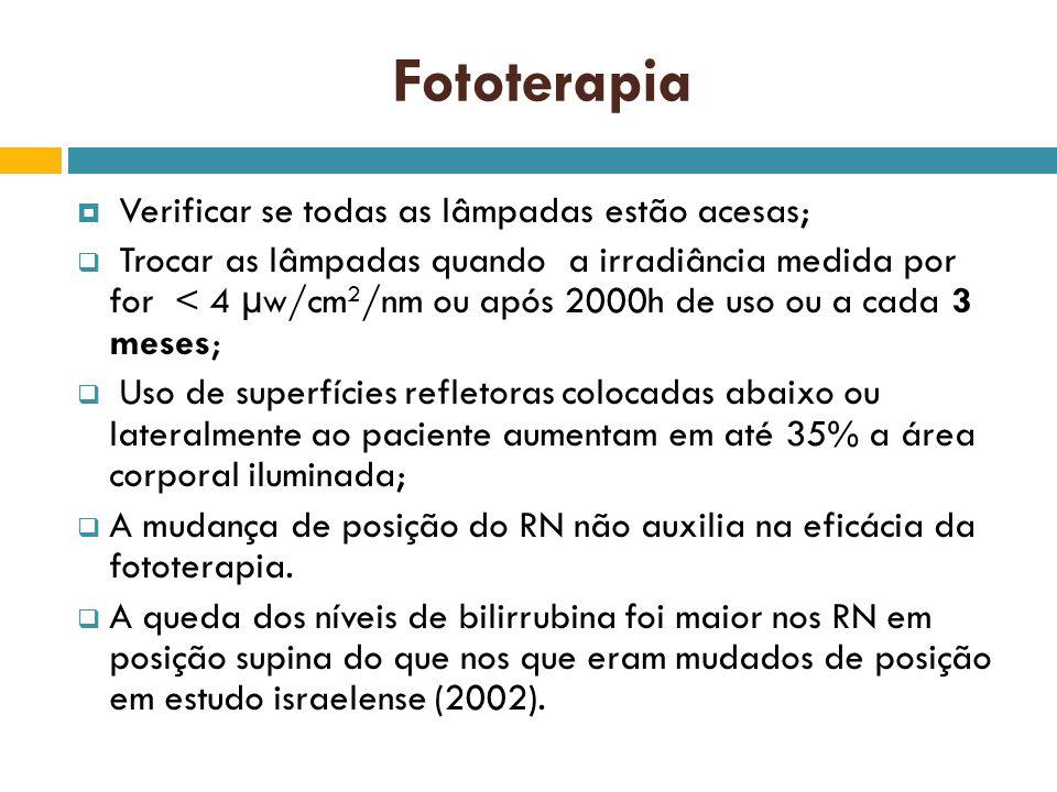 Fototerapia Verificar se todas as lâmpadas estão acesas; Trocar as lâmpadas quando a irradiância medida por for < 4 µw/cm 2 /nm ou após 2000h de uso o