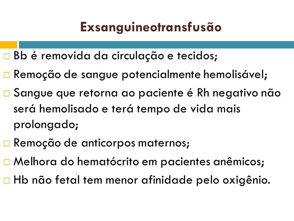 Exsanguineotransfusão Bb é removida da circulação e tecidos; Remoção de sangue potencialmente hemolisável; Sangue que retorna ao paciente é Rh negativ