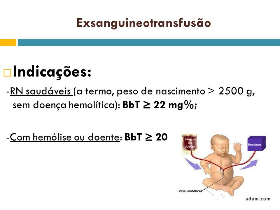 Indicações: -RN saudáveis (a termo, peso de nascimento > 2500 g, sem doença hemolítica): BbT 22 mg%; -Com hemólise ou doente: BbT 20 mg%. Exsanguineot