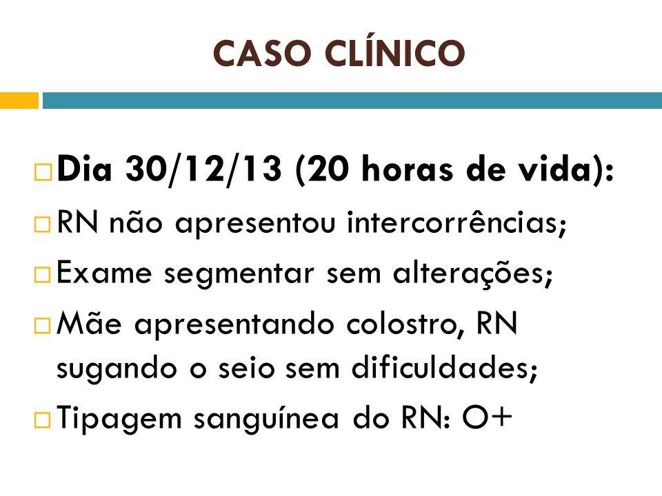 CASO CLÍNICO Dia 30/12/13 (20 horas de vida): RN não apresentou intercorrências; Exame segmentar sem alterações; Mãe apresentando colostro, RN sugando