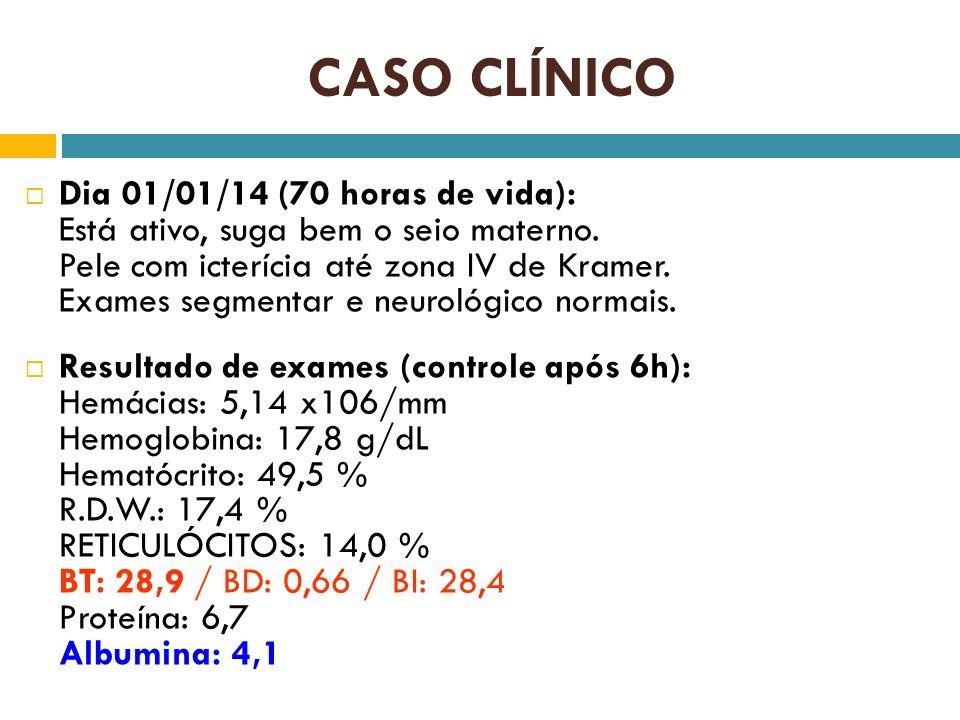 CASO CLÍNICO Dia 01/01/14 (70 horas de vida): Está ativo, suga bem o seio materno. Pele com icterícia até zona IV de Kramer. Exames segmentar e neurol