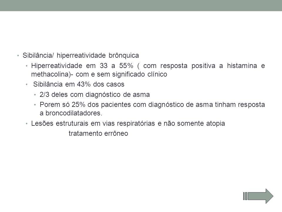 Sibilância/ hiperreatividade brônquica Hiperreatividade em 33 a 55% ( com resposta positiva a histamina e methacolina)- com e sem significado clínico
