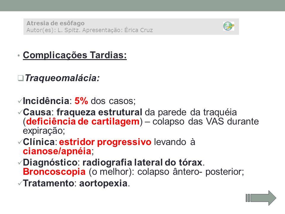 Complicações Tardias: Traqueomalácia: Incidência: 5% dos casos; Causa: fraqueza estrutural da parede da traquéia (deficiência de cartilagem) – colapso