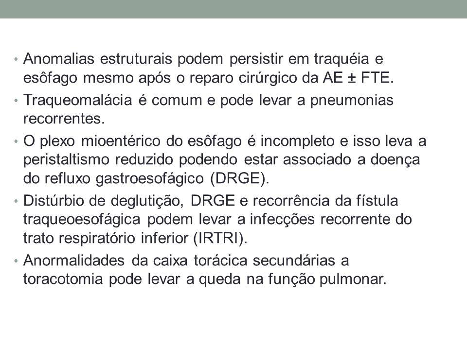 Anomalias estruturais podem persistir em traquéia e esôfago mesmo após o reparo cirúrgico da AE ± FTE. Traqueomalácia é comum e pode levar a pneumonia