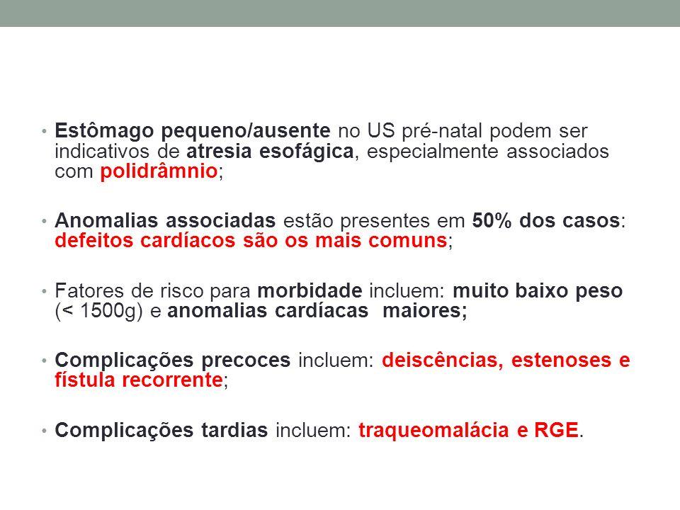 Estômago pequeno/ausente no US pré-natal podem ser indicativos de atresia esofágica, especialmente associados com polidrâmnio; Anomalias associadas es