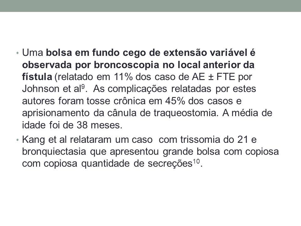 Uma bolsa em fundo cego de extensão variável é observada por broncoscopia no local anterior da fístula (relatado em 11% dos caso de AE ± FTE por Johns