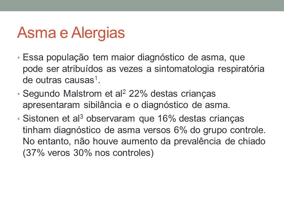Asma e Alergias Essa população tem maior diagnóstico de asma, que pode ser atribuídos as vezes a sintomatologia respiratória de outras causas 1. Segun