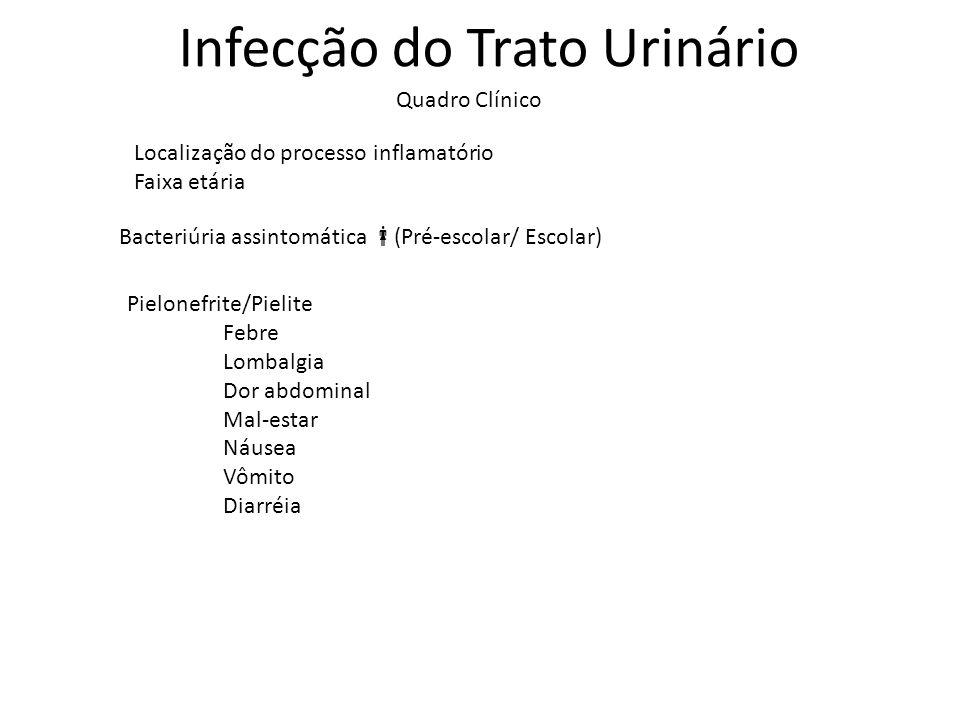 Infecção do Trato Urinário Quadro Clínico Localização do processo inflamatório Faixa etária Pielonefrite/Pielite Febre Lombalgia Dor abdominal Mal-est