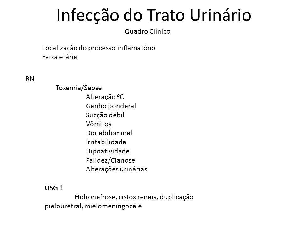 Infecção do Trato Urinário Quadro Clínico Infecção do Trato Urinário Localização do processo inflamatório Faixa etária RN Toxemia/Sepse Alteração ºC G
