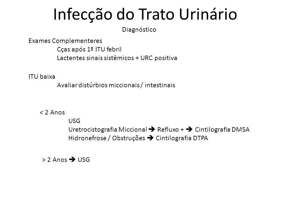 Diagnóstico Infecção do Trato Urinário Exames Complementeres Cças após 1º ITU febril Lactentes sinais sistêmicos + URC positiva ITU baixa Avaliar dist