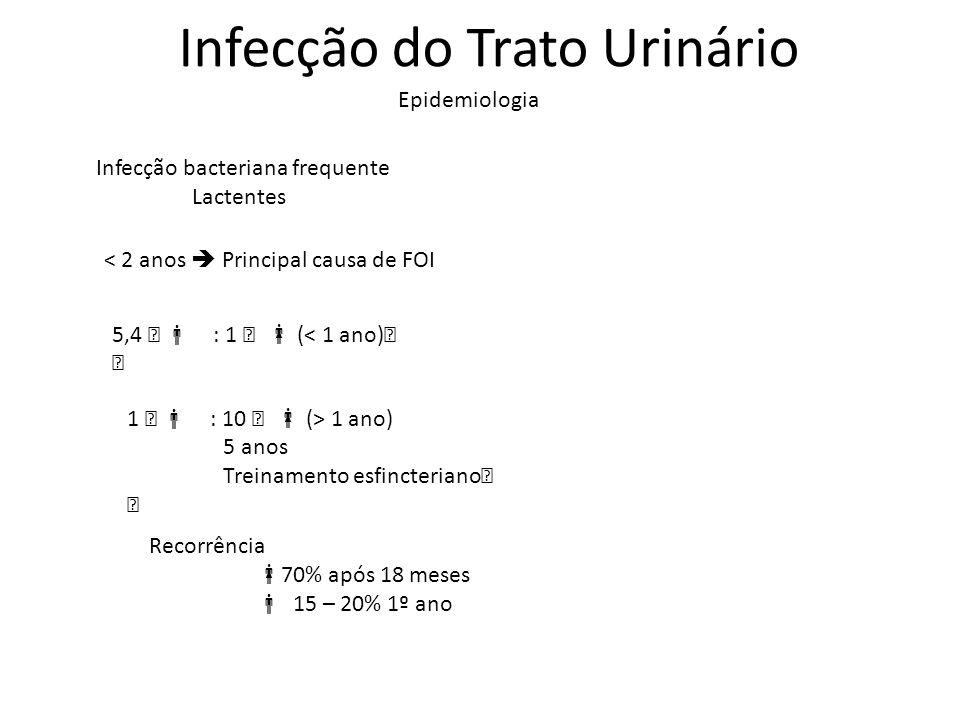 Infecção do Trato Urinário Epidemiologia Infecção bacteriana frequente Lactentes < 2 anos Principal causa de FOI 5,4  : 1  (< 1 ano)  1  : 10  (