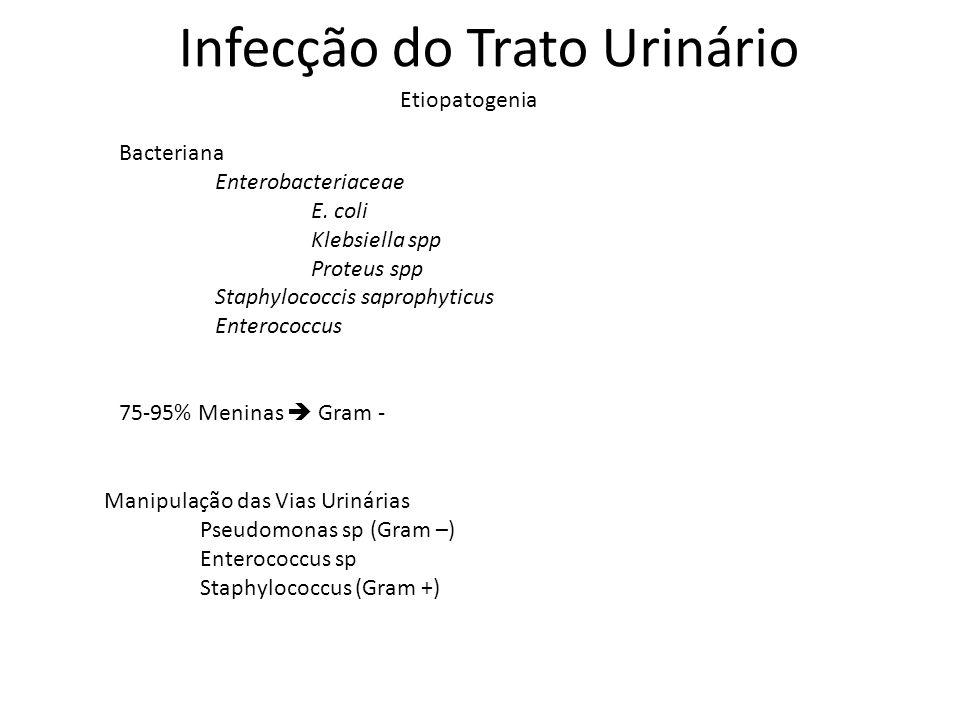 Infecção do Trato Urinário Etiopatogenia Bacteriana Enterobacteriaceae E. coli Klebsiella spp Proteus spp Staphylococcis saprophyticus Enterococcus 75