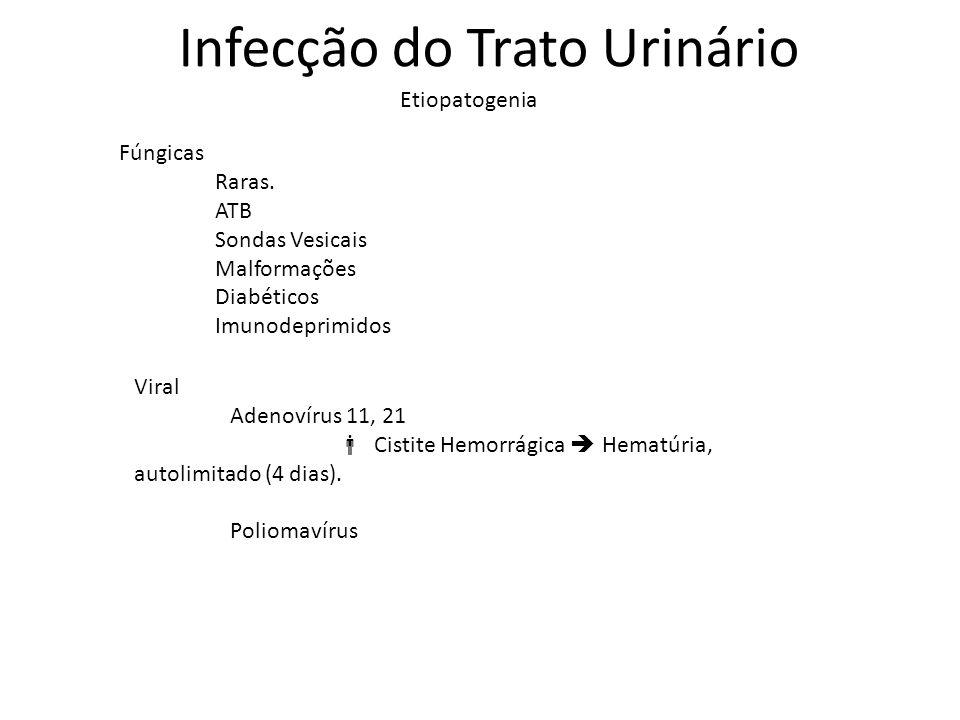 Infecção do Trato Urinário Etiopatogenia Fúngicas Raras. ATB Sondas Vesicais Malformações Diabéticos Imunodeprimidos Viral Adenovírus 11, 21 Cistite H