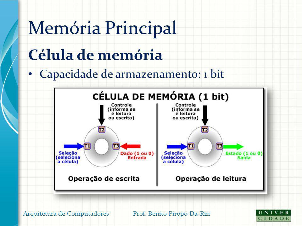 Memória Principal Célula de memória Capacidade de armazenamento: 1 bit Arquitetura de Computadores Prof. Benito Piropo Da-Rin