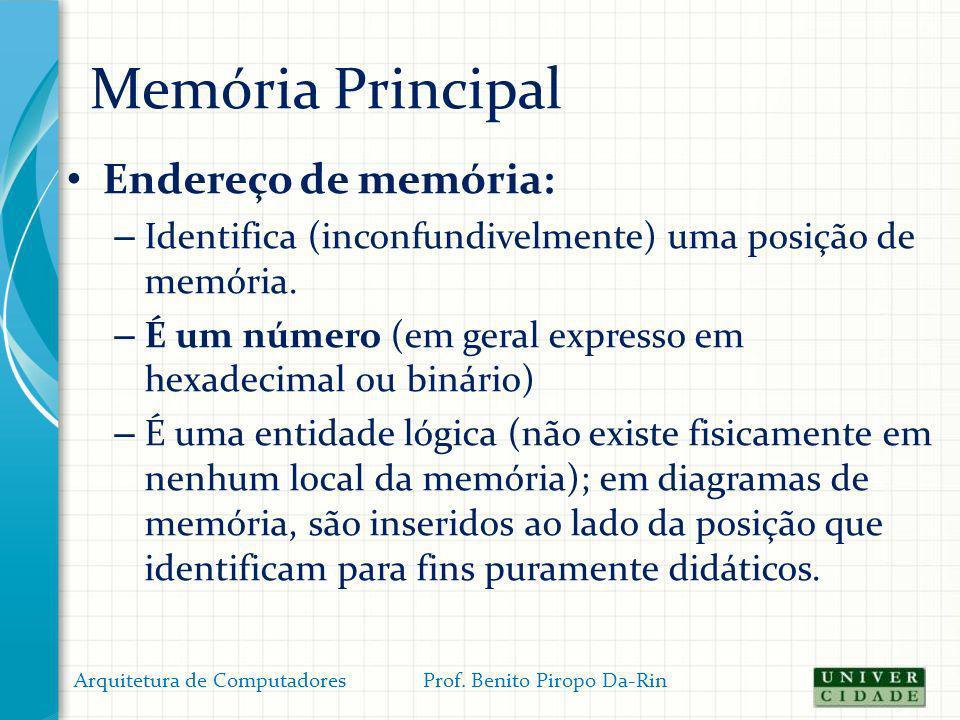 Memória Principal Endereço de memória: – Identifica (inconfundivelmente) uma posição de memória. – É um número (em geral expresso em hexadecimal ou bi