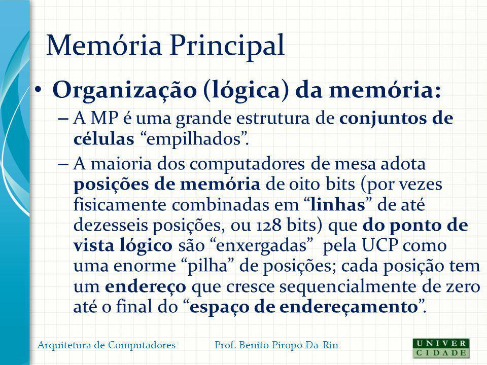 Memória Principal Organização (lógica) da memória: – A MP é uma grande estrutura de conjuntos de células empilhados. – A maioria dos computadores de m