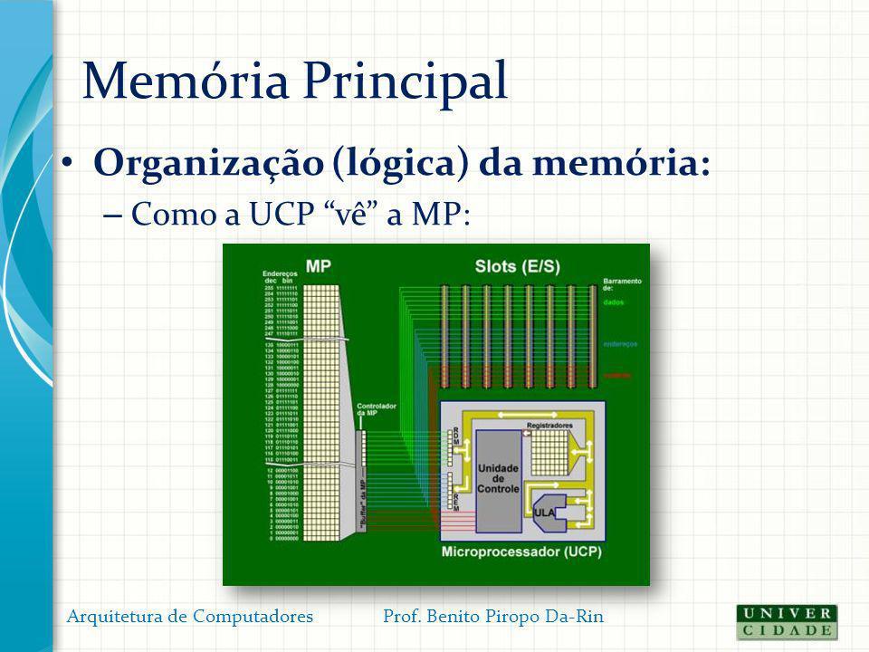 Memória Principal Organização (lógica) da memória: – Como a UCP vê a MP: Arquitetura de Computadores Prof. Benito Piropo Da-Rin