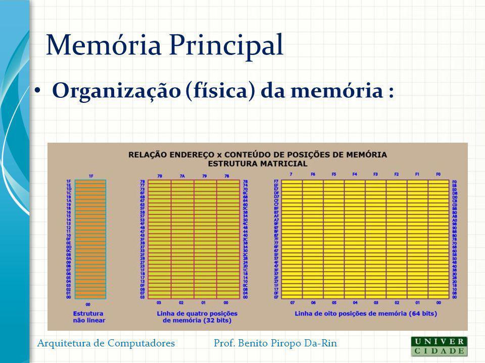 Memória Principal Organização (física) da memória : Arquitetura de Computadores Prof. Benito Piropo Da-Rin