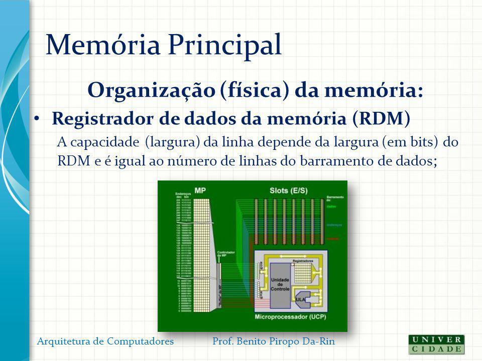 Memória Principal Organização (física) da memória: Registrador de dados da memória (RDM) A capacidade (largura) da linha depende da largura (em bits)