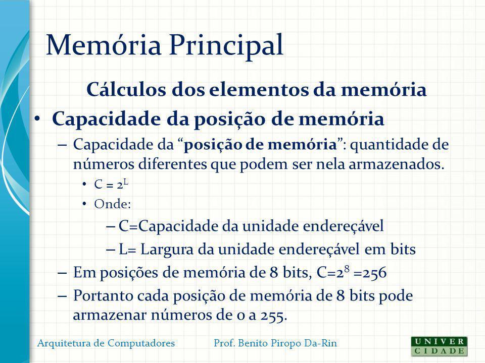 Memória Principal Cálculos dos elementos da memória Capacidade da posição de memória – Capacidade da posição de memória: quantidade de números diferen