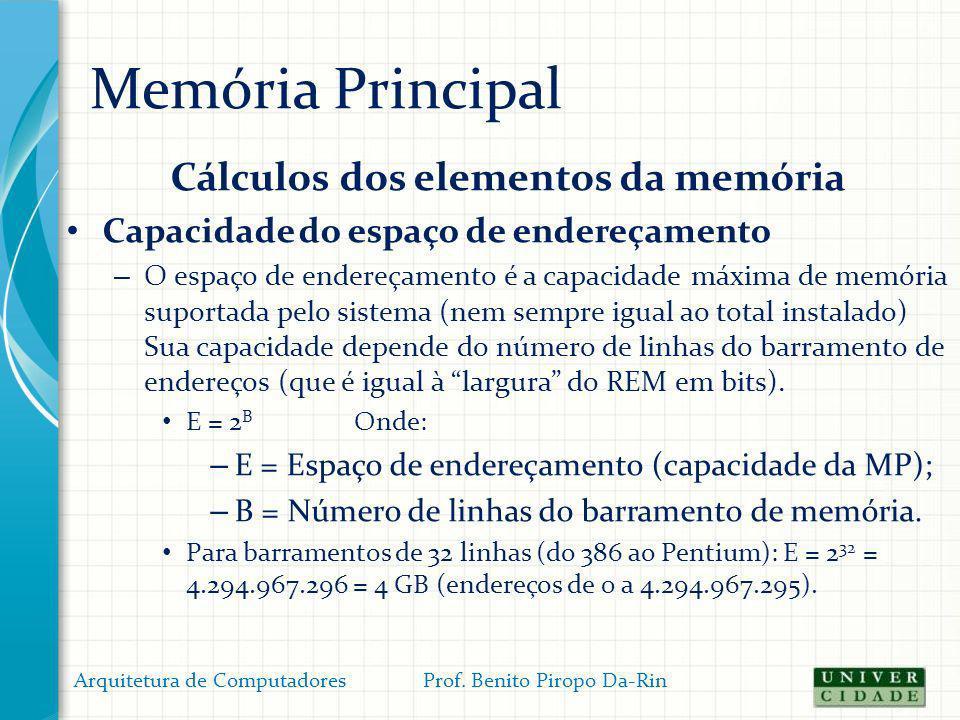 Memória Principal Cálculos dos elementos da memória Capacidade do espaço de endereçamento – O espaço de endereçamento é a capacidade máxima de memória