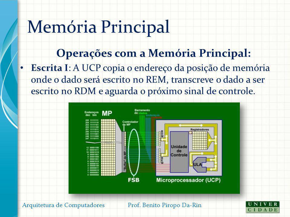 Memória Principal Operações com a Memória Principal: Escrita I: A UCP copia o endereço da posição de memória onde o dado será escrito no REM, transcre