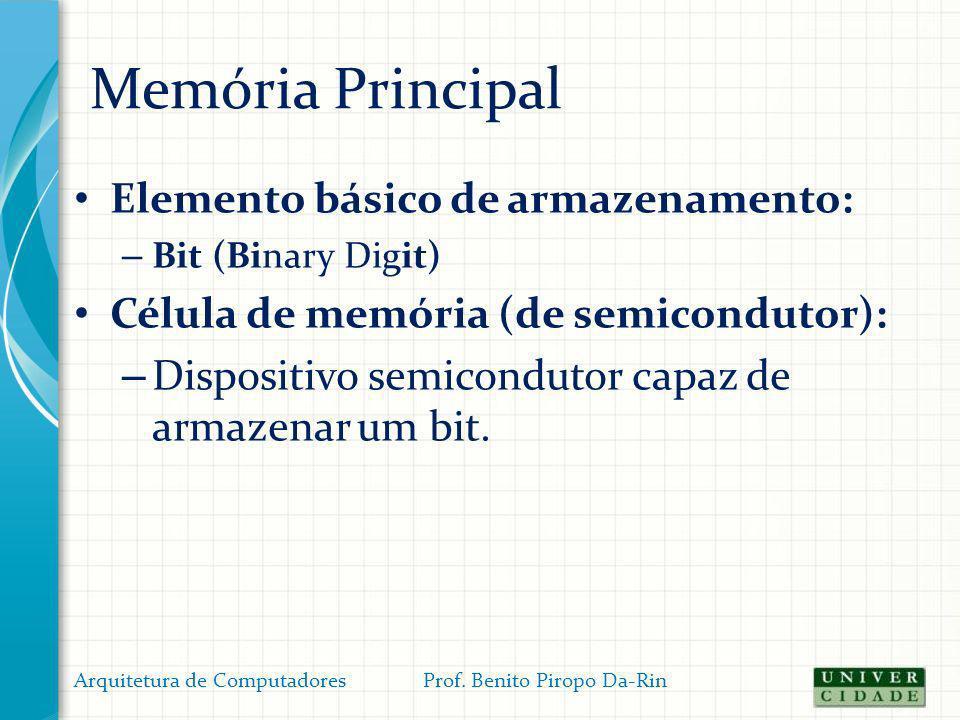 Memória Principal Cálculos dos elementos da memória Capacidade do espaço de endereçamento – O espaço de endereçamento é a capacidade máxima de memória suportada pelo sistema (nem sempre igual ao total instalado) Sua capacidade depende do número de linhas do barramento de endereços (que é igual à largura do REM em bits).