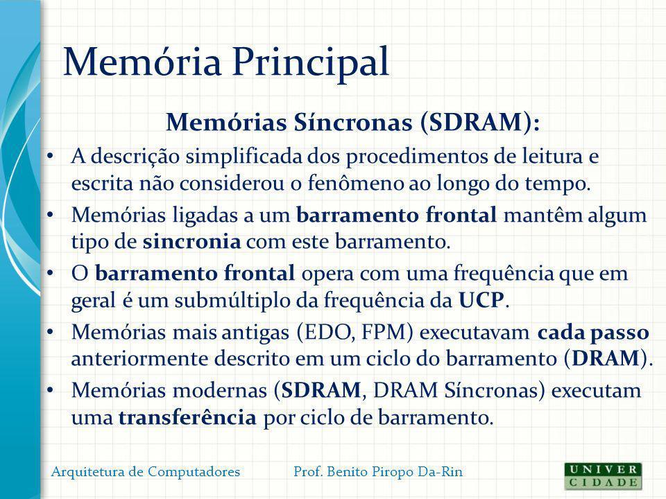 Memória Principal Memórias Síncronas (SDRAM): A descrição simplificada dos procedimentos de leitura e escrita não considerou o fenômeno ao longo do te