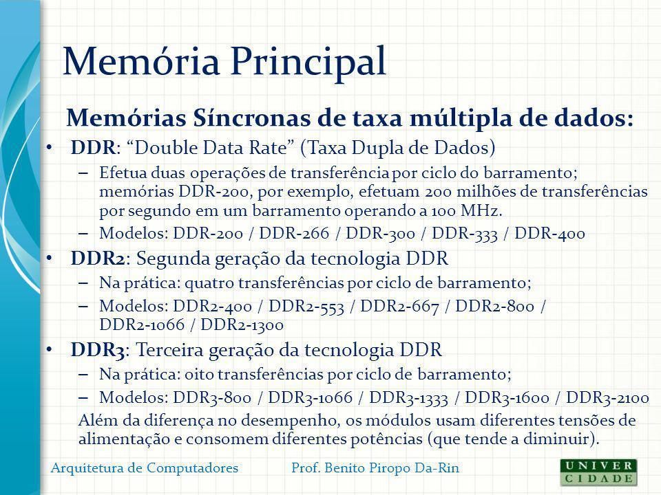 Memória Principal Memórias Síncronas de taxa múltipla de dados: DDR: Double Data Rate (Taxa Dupla de Dados) – Efetua duas operações de transferência p