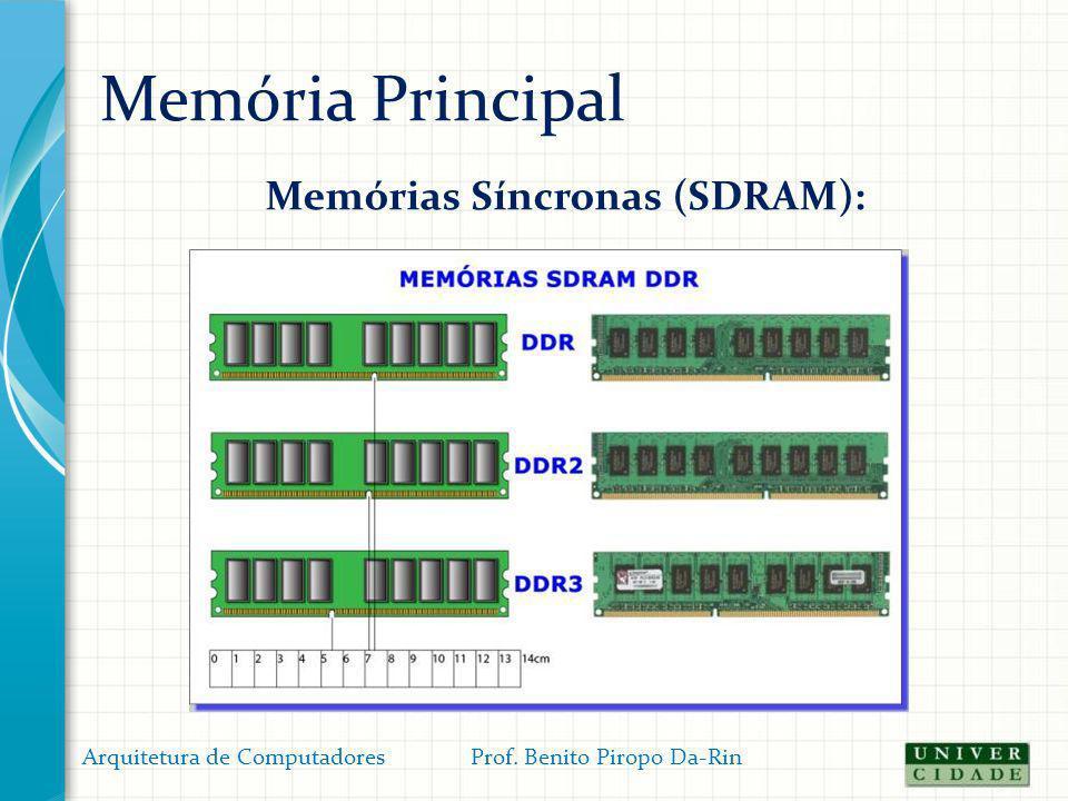 Memória Principal Memórias Síncronas (SDRAM): Arquitetura de Computadores Prof. Benito Piropo Da-Rin