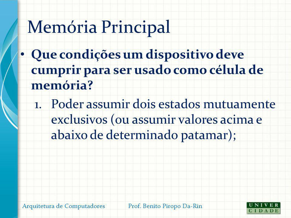 Memória Principal Organização (física) da memória: – A memória é organizada em uma matriz de linhas e colunas; – Cada linha pode conter uma ou mais posições de memória; Arquitetura de Computadores Prof.