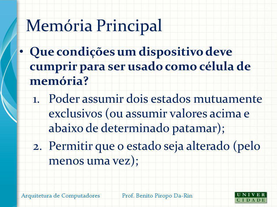 Memória Principal Operações com a Memória Principal: Participantes: FSB (dados, endereços e controle) /REM / RDM / UCP / controlador da MP) Arquitetura de Computadores Prof.